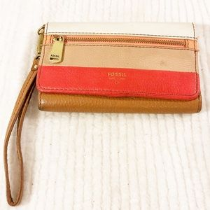 💛2/$30💛 FOSSIL Leather Striped Wallet